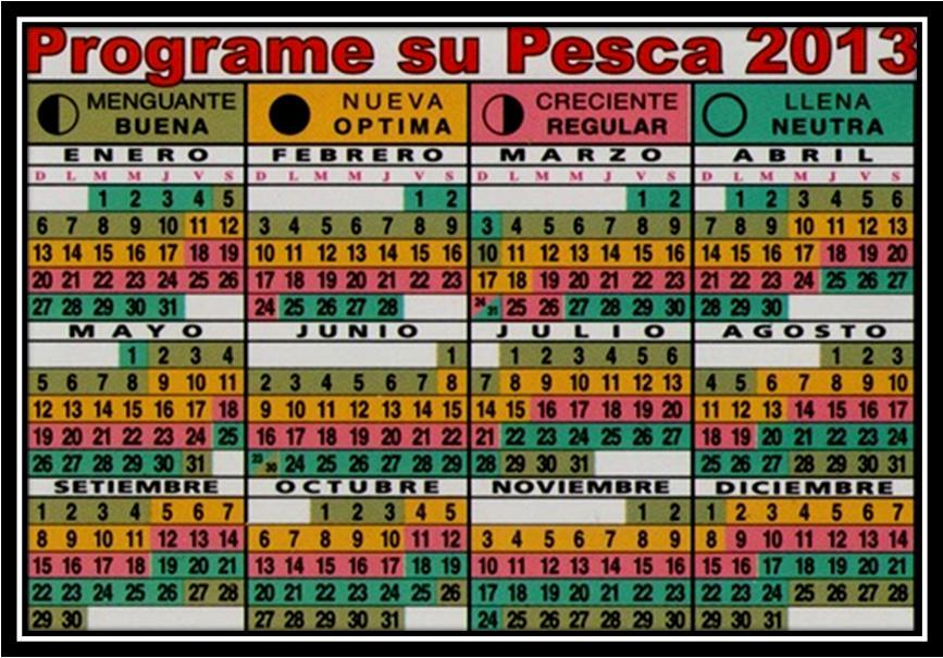 Calendario lunar de pesca 2013 | PESCADOR DEPORTIVO