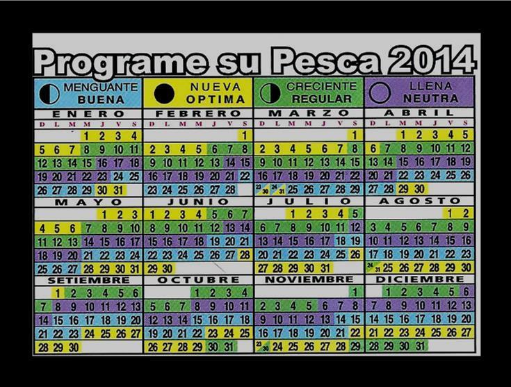 Calendario lunar de pesca 2014