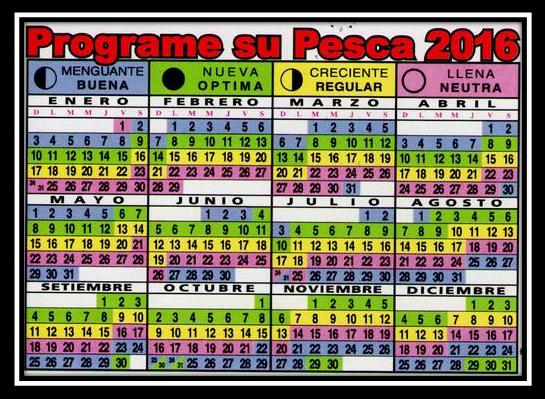 Calendario lunar de pesca 2016 | PESCADOR DEPORTIVO